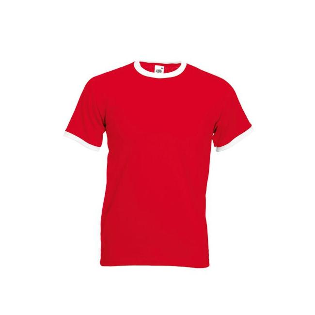 Rood ringer t shirt met witte contrast kleur