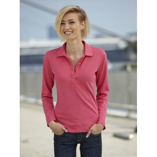 Roze stretch poloshirt voor dames