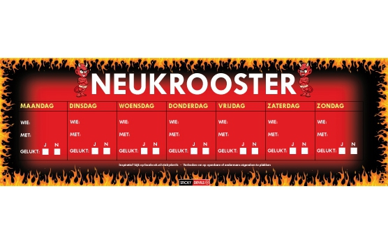 Sticky Devil stickers tekst Neukrooster, per week