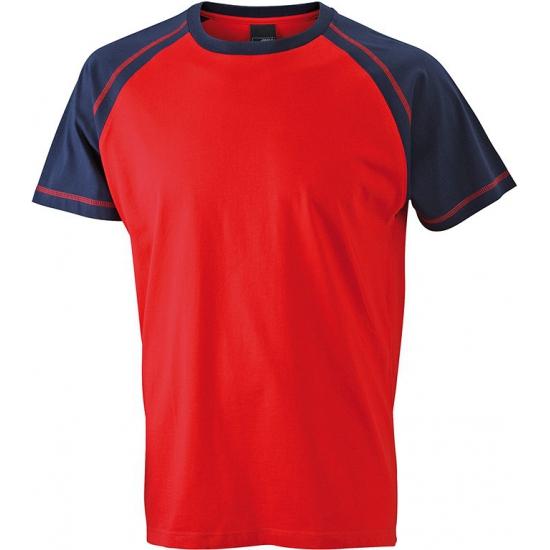 T shirts voor heren in de kleuren rood en navy