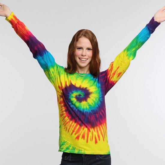 Tie dye t shirt LS regenboog