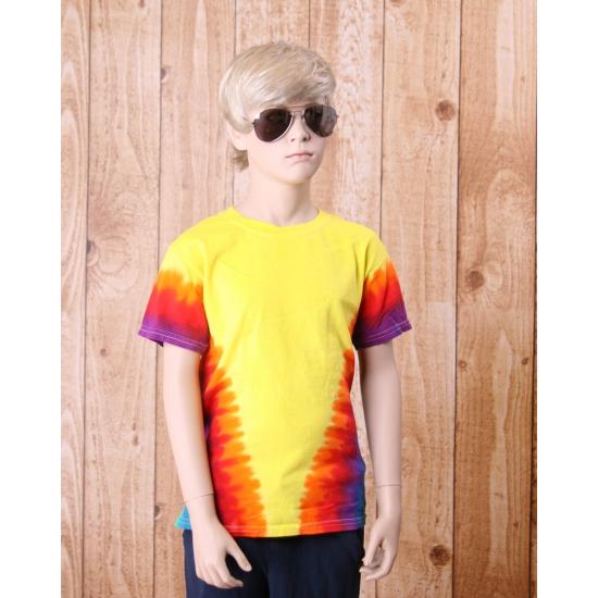 Tie dye t shirt regenboog V voor kinderen
