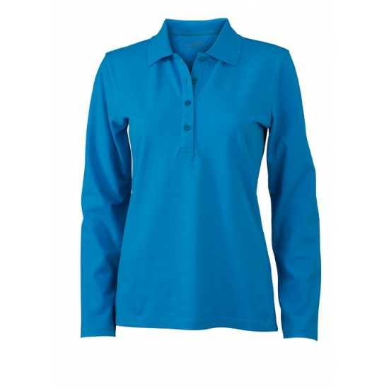 Turquoise stretch poloshirts voor dames
