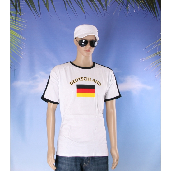 Wit heren shirtje Duitsland vlag
