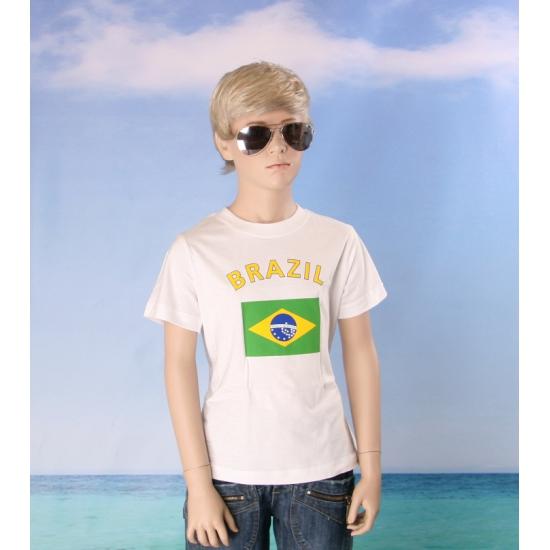 Wit kinder t shirt Brazilie