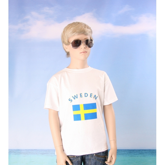 Wit kinder t shirt Zweden