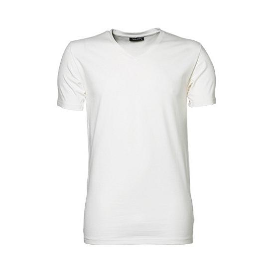 Wit strak heren t shirt met V hals