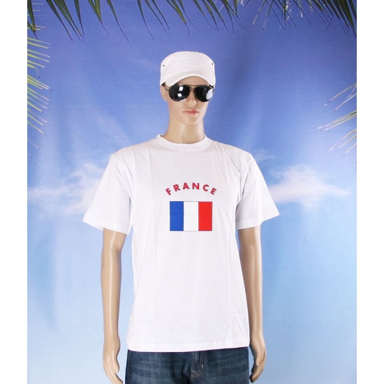 Wit t shirt Frankrijk volwassenen