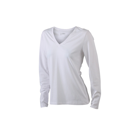 Witte dames cotton stretch shirts LS