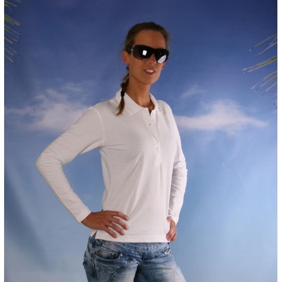 Witte dames poloshirt lange mouw