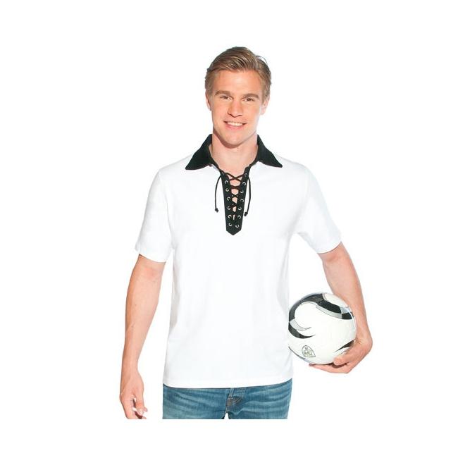 Witte polo met zwarte retro kraag voor heren
