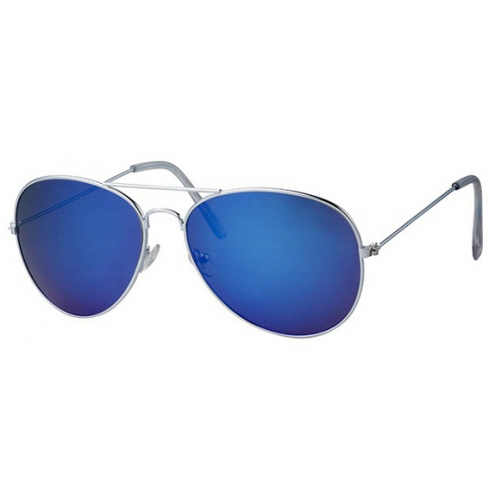 Zonnebril zilver montuur en blauw glas