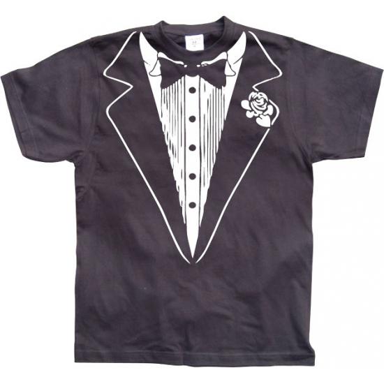 Zwart Tuxedo t shirt