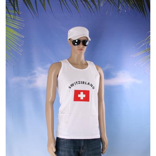 Zwitserland vlaggen tanktop/ t shirt