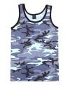 Blauw camouflage tanktop voor heren