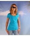 Bodyfit turquoise dames t shirt