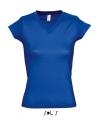 Dames t shirt v hals kobalt blauw