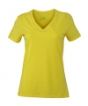 Geel dames stretch t shirt met v hals