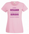 Geslaagd t shirt roze voor dames