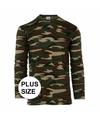 Grote maat camouflage shirt voor heren lange mouw