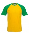 Heren baseball t shirt geel groen