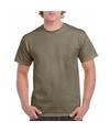 Kaki groene katoenen shirt voor volwassenen