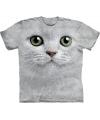 Kinder t shirt witte kat met groene ogen