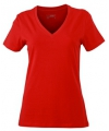 Rood dames stretch t shirt met v hals