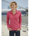 Roze stretch poloshirt voor dames