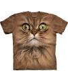 T shirt bruine kat met groene ogen