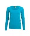 Turquoise damesshirt lange mouw