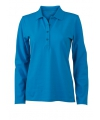 Turquoise stretch poloshirt voor dames