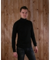 Zwart t shirt met col en lange mouw heren