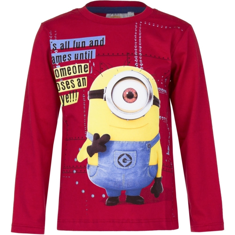 Minions t shirt rood voor jongens