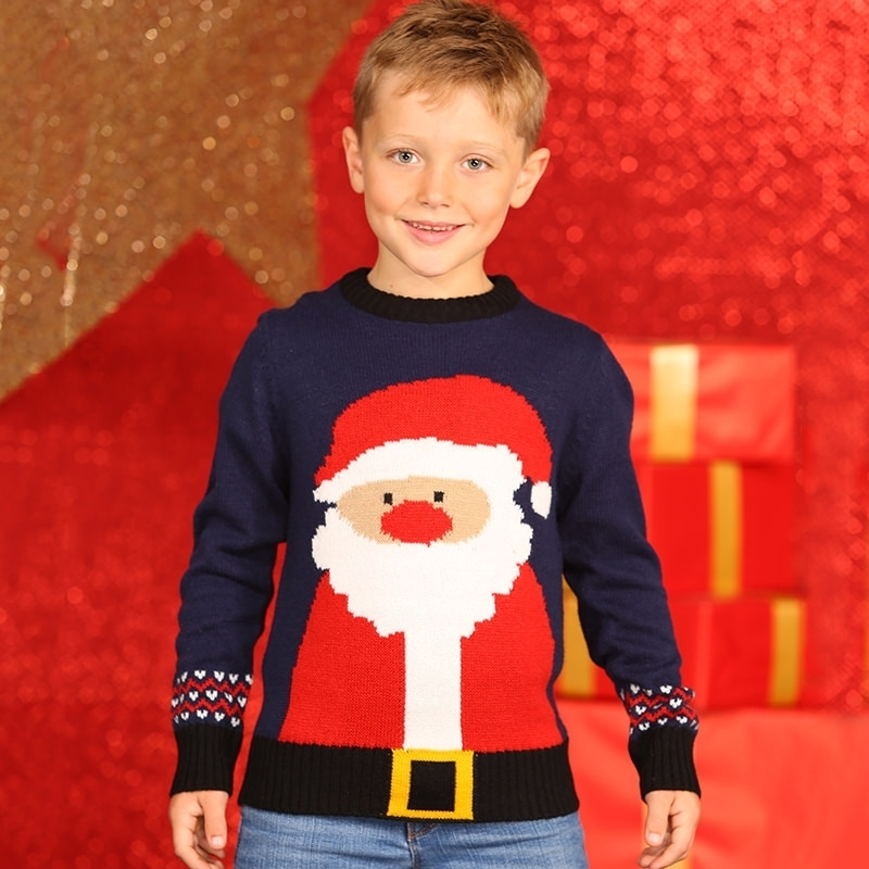 Foute Kersttrui Kind.Navy Kerstmis Trui Met Kerstman Voor Kids Altijd De Goedkoopste