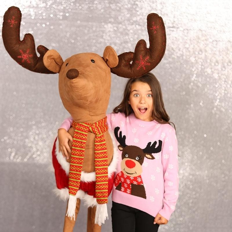 Kersttrui Meisje.Kerstmis Trui Roze Met Rendier Voor Meisjes Altijd De Goedkoopste