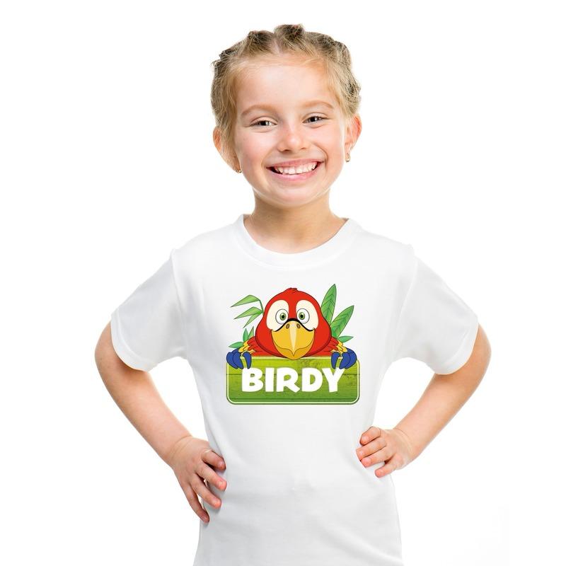 T shirt wit voor kinderen met Birdy de papegaai