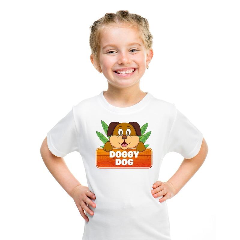 T shirt wit voor kinderen met Doggy Dog de hond