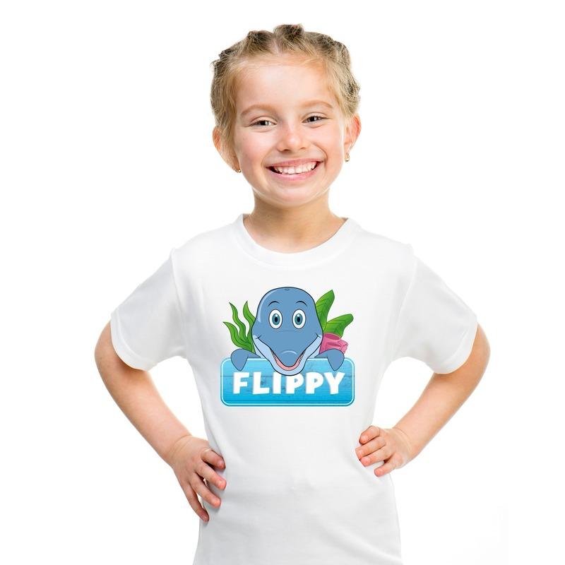 T shirt wit voor kinderen met Flippy de dolfijn