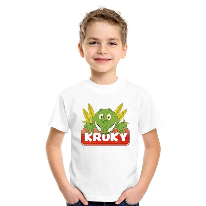 T shirt wit voor kinderen met Kroky de krokodil