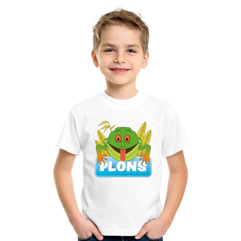 T shirt wit voor kinderen met Plons de kikker