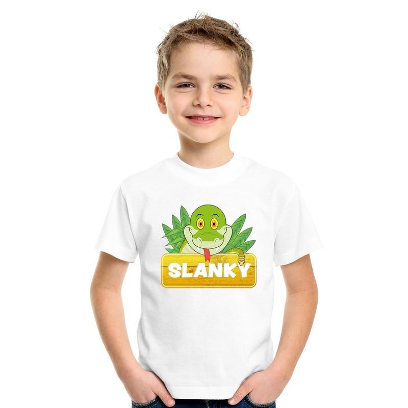 T shirt wit voor kinderen met Slanky de slang