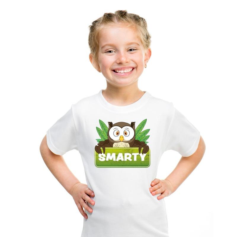T shirt wit voor kinderen met Smarty de uil