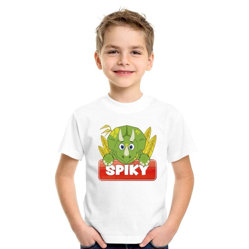 T shirt wit voor kinderen met Spiky de dinosaurus