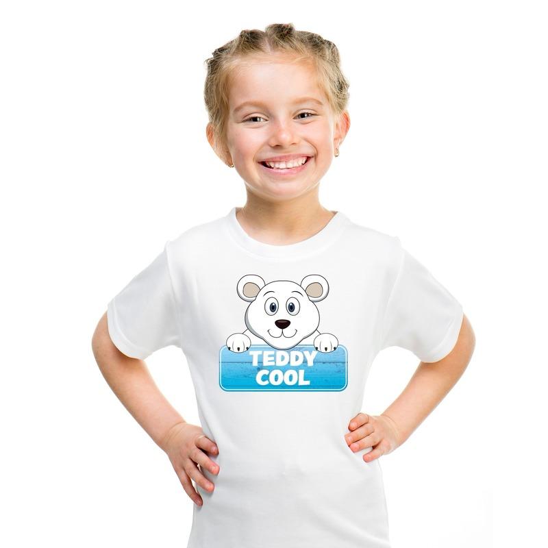T shirt wit voor kinderen met Teddy Cool de ijsbeer