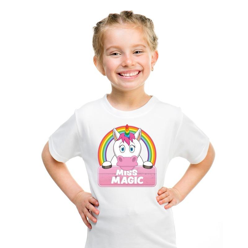 T shirt wit voor meisjes met Miss Magic de eenhoorn