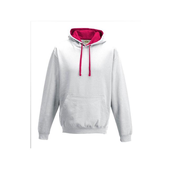 Heren trui wit met roze capuchon   Altijd de goedkoopste