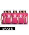 5x vrijgezellenfeest team t shirt roze dames maat s