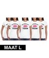 5x vrijgezellenfeest team t shirt wit dames maat l
