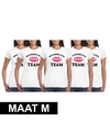 5x vrijgezellenfeest team t shirt wit dames maat m